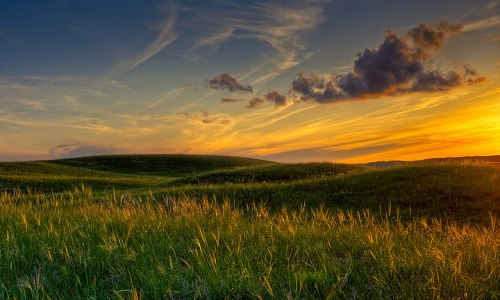 Sunset light on the prairie grass in the Sandhills, Nebraska